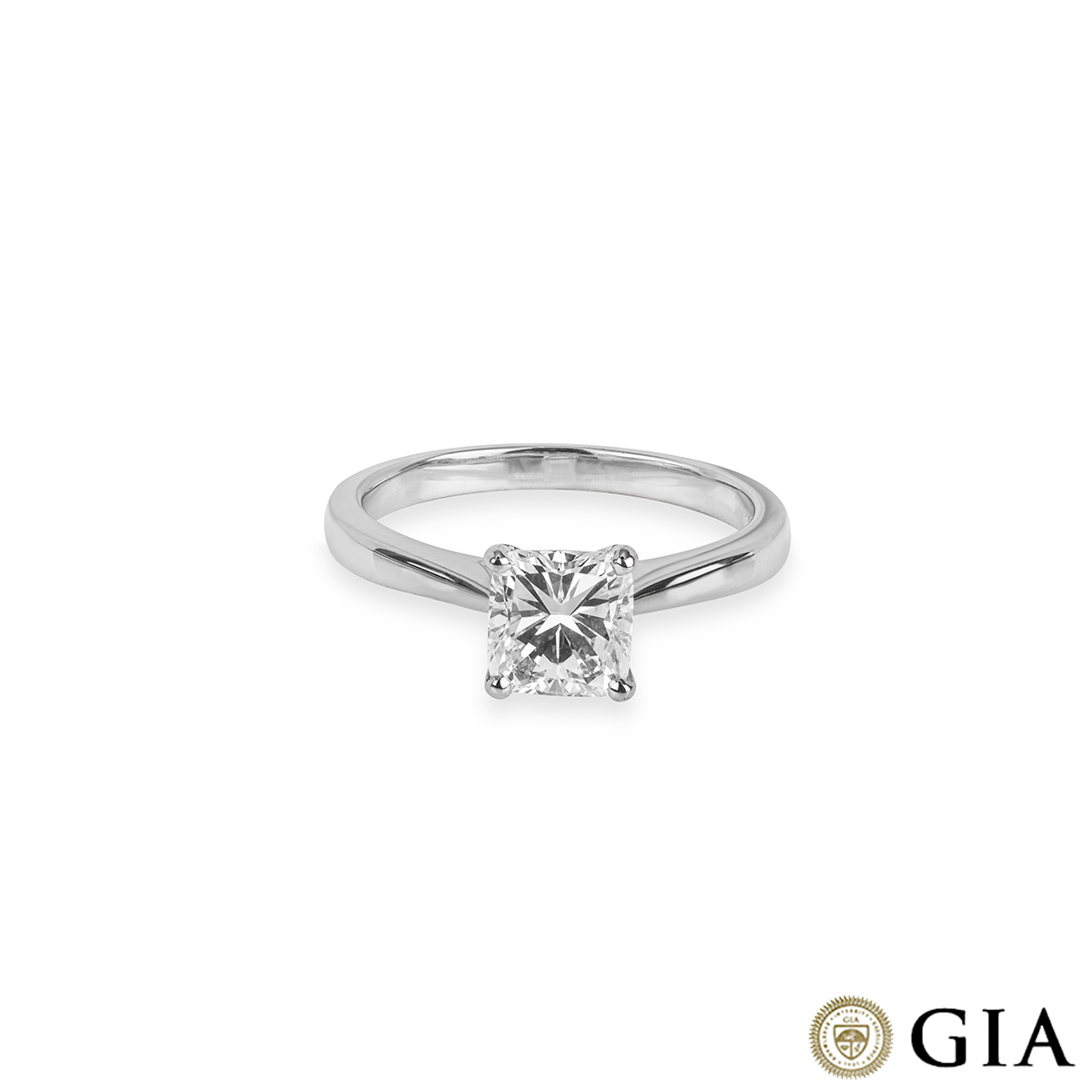 White Gold Cushion Cut Diamond Ring 1.14ct G/VS1